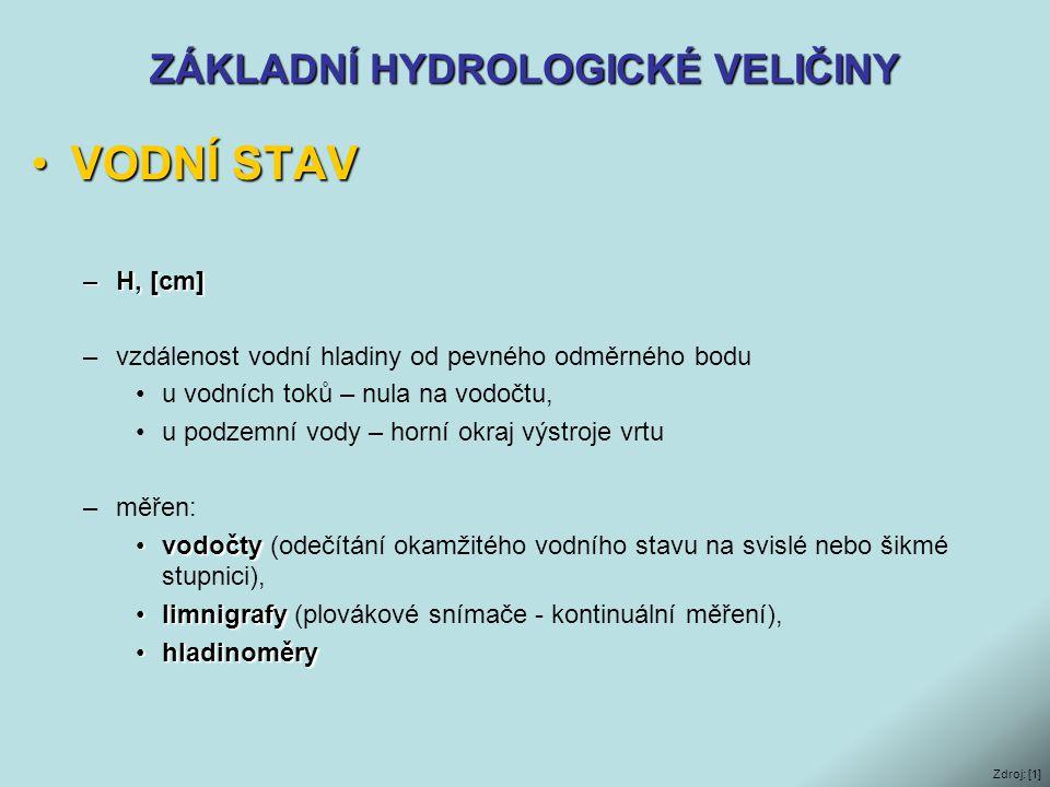 ZÁKLADNÍ HYDROLOGICKÉ VELIČINY •VODNÍ STAV –H, [cm] –vzdálenost vodní hladiny od pevného odměrného bodu •u vodních toků – nula na vodočtu, •u podzemní