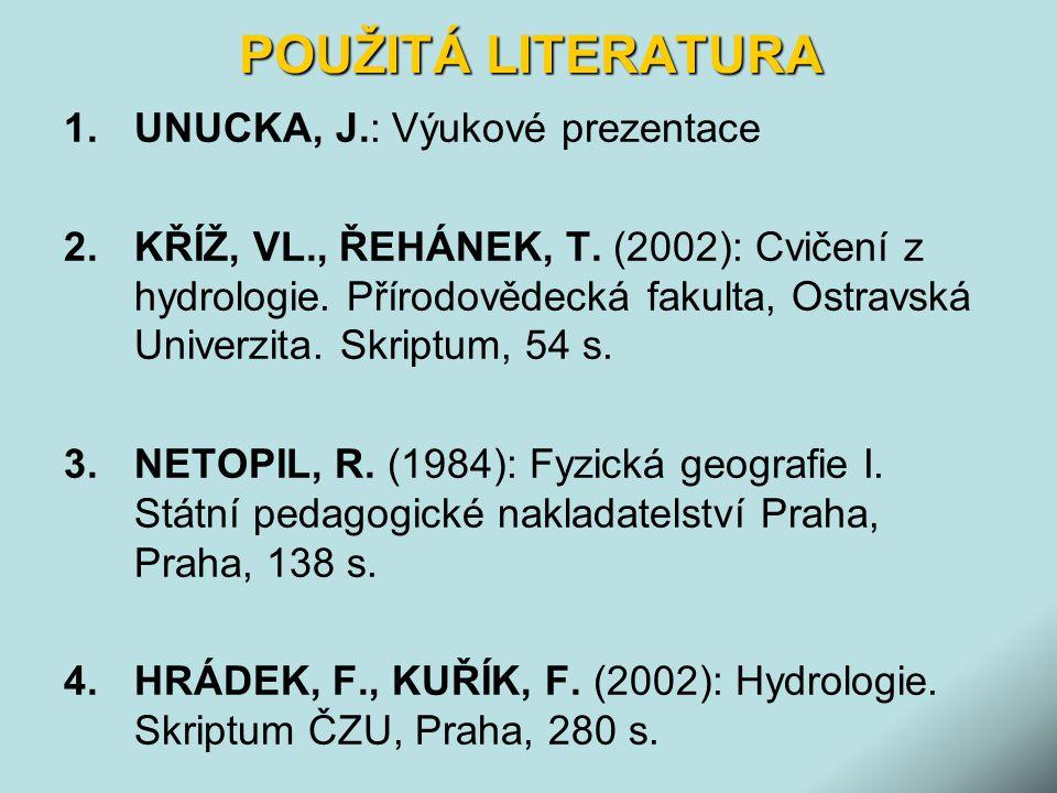 POUŽITÁ LITERATURA 1.UNUCKA, J.: Výukové prezentace 2.KŘÍŽ, VL., ŘEHÁNEK, T. (2002): Cvičení z hydrologie. Přírodovědecká fakulta, Ostravská Univerzit