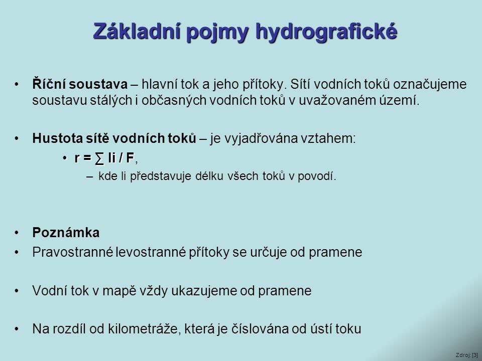 Základní pojmy hydrografické •Říční soustava – hlavní tok a jeho přítoky. Sítí vodních toků označujeme soustavu stálých i občasných vodních toků v uva