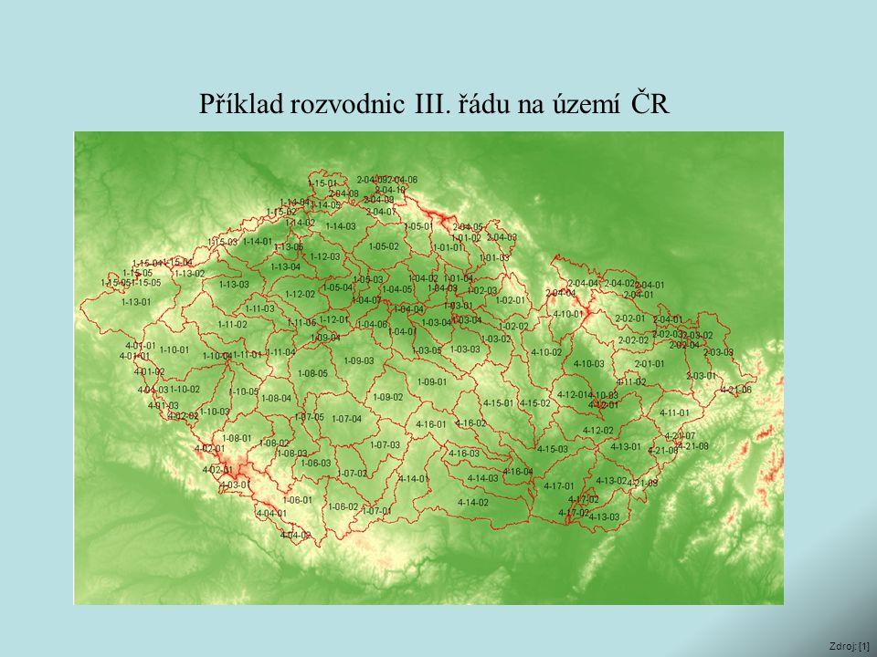 Příklad rozvodnic III. řádu na území ČR Zdroj: [1]