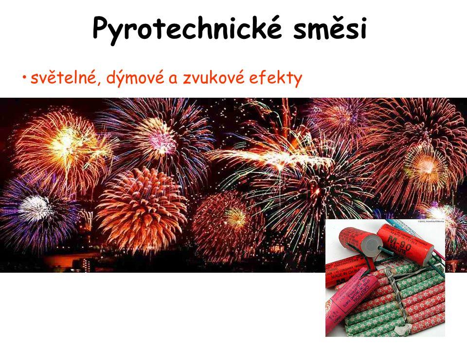 Pyrotechnické směsi •světelné, dýmové a zvukové efekty