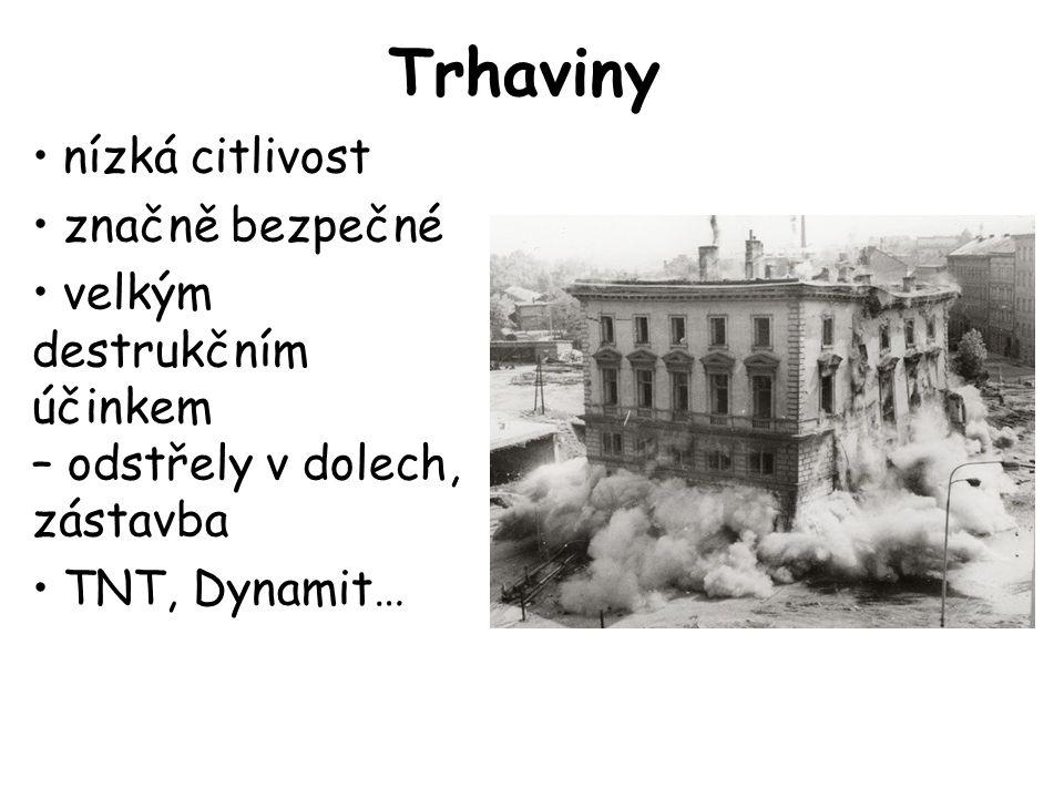 Trhaviny •nízká citlivost •značně bezpečné •velkým destrukčním účinkem – odstřely v dolech, zástavba •TNT, Dynamit…