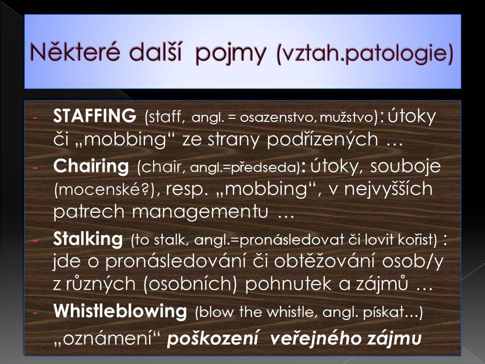"""- STAFFING (staff, angl. = osazenstvo, mužstvo ) : útoky či """"mobbing"""" ze strany podřízených … - Chairing (chair, angl.=předseda) : útoky, souboje (moc"""