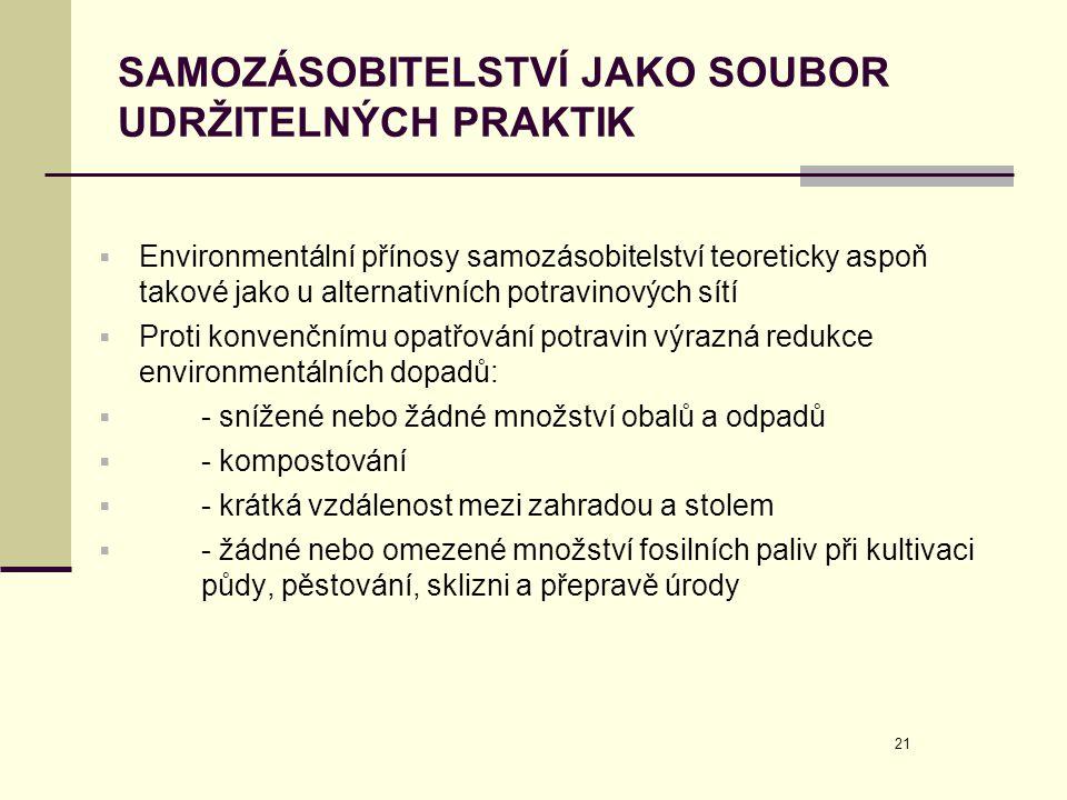 21 SAMOZÁSOBITELSTVÍ JAKO SOUBOR UDRŽITELNÝCH PRAKTIK  Environmentální přínosy samozásobitelství teoreticky aspoň takové jako u alternativních potrav