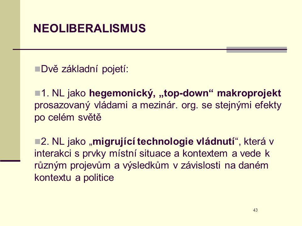 """43 NEOLIBERALISMUS  Dvě základní pojetí:  1. NL jako hegemonický, """"top-down"""" makroprojekt prosazovaný vládami a mezinár. org. se stejnými efekty po"""