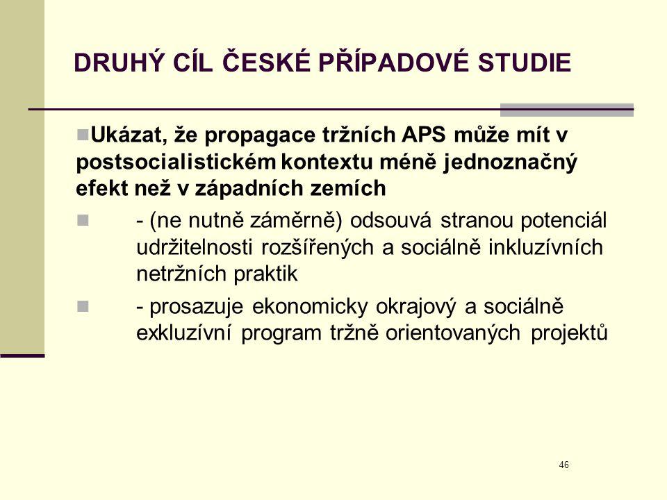 46 DRUHÝ CÍL ČESKÉ PŘÍPADOVÉ STUDIE  Ukázat, že propagace tržních APS může mít v postsocialistickém kontextu méně jednoznačný efekt než v západních z
