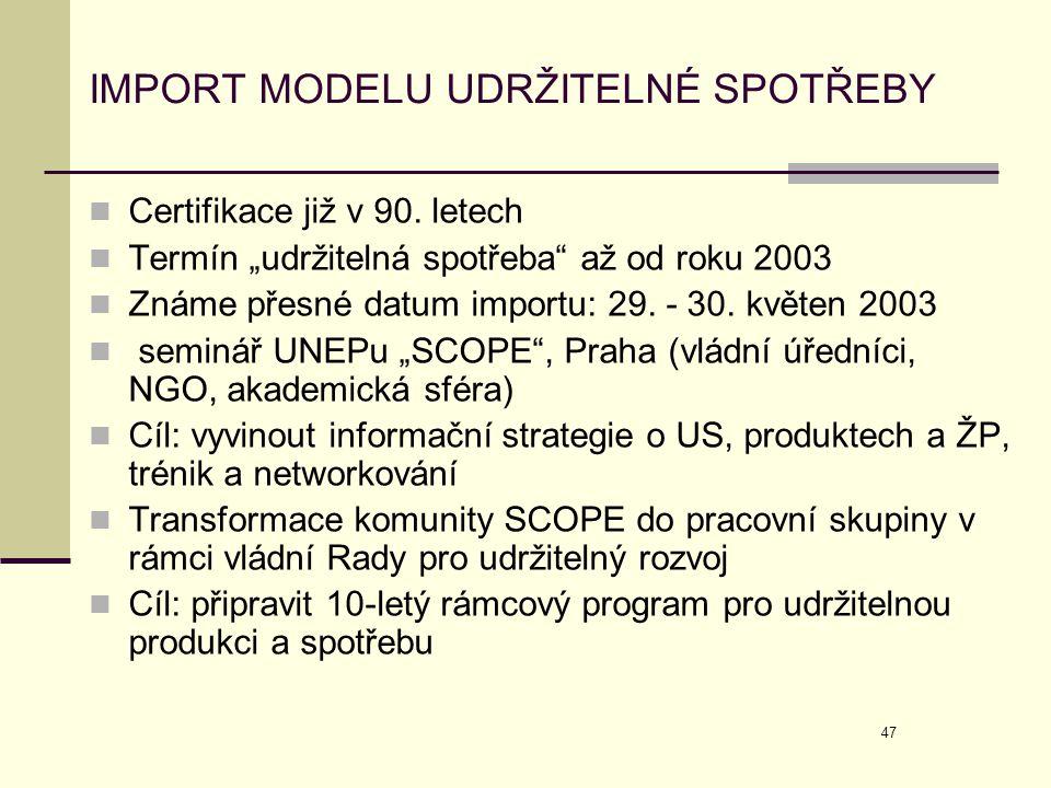 """47 IMPORT MODELU UDRŽITELNÉ SPOTŘEBY  Certifikace již v 90. letech  Termín """"udržitelná spotřeba"""" až od roku 2003  Známe přesné datum importu: 29. -"""