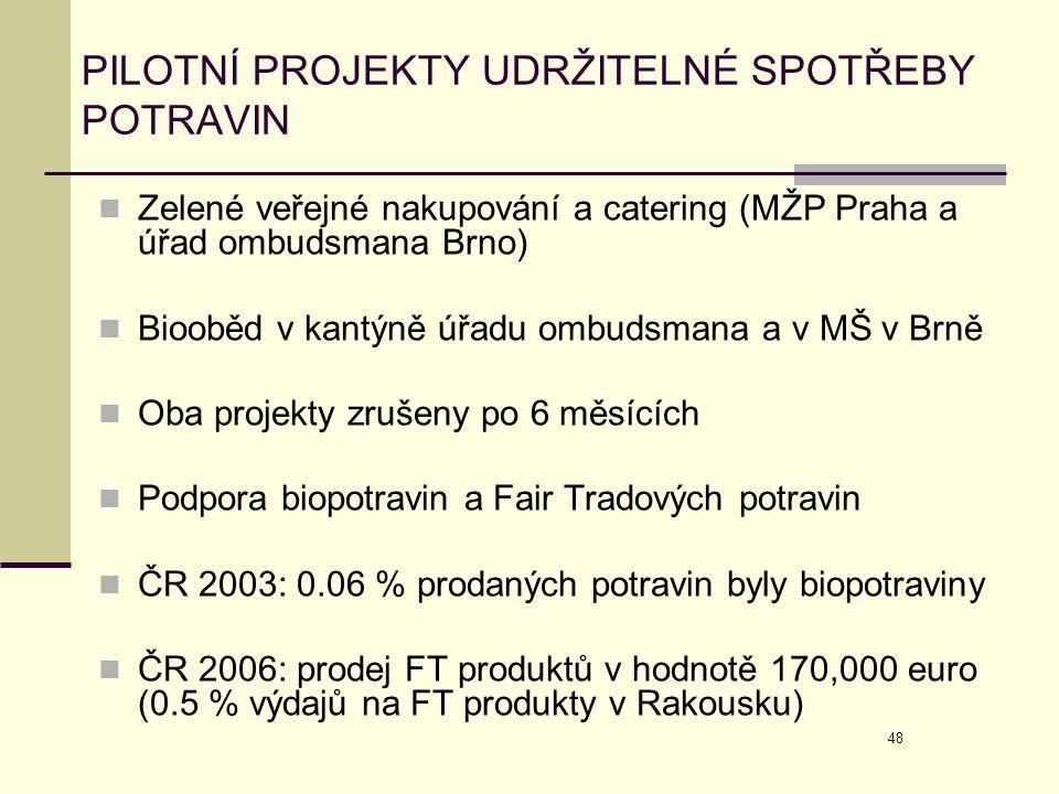 48 PILOTNÍ PROJEKTY UDRŽITELNÉ SPOTŘEBY POTRAVIN  Zelené veřejné nakupování a catering (MŽP Praha a úřad ombudsmana Brno)  Biooběd v kantýně úřadu o