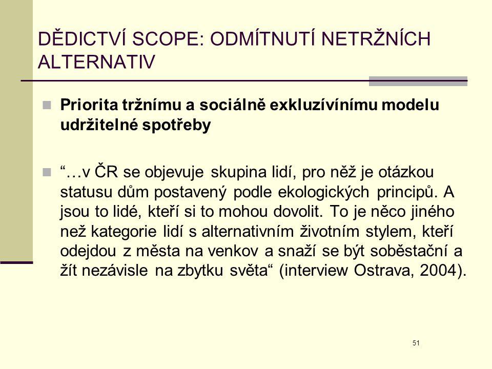 """51 DĚDICTVÍ SCOPE: ODMÍTNUTÍ NETRŽNÍCH ALTERNATIV  Priorita tržnímu a sociálně exkluzívínímu modelu udržitelné spotřeby  """"…v ČR se objevuje skupina"""