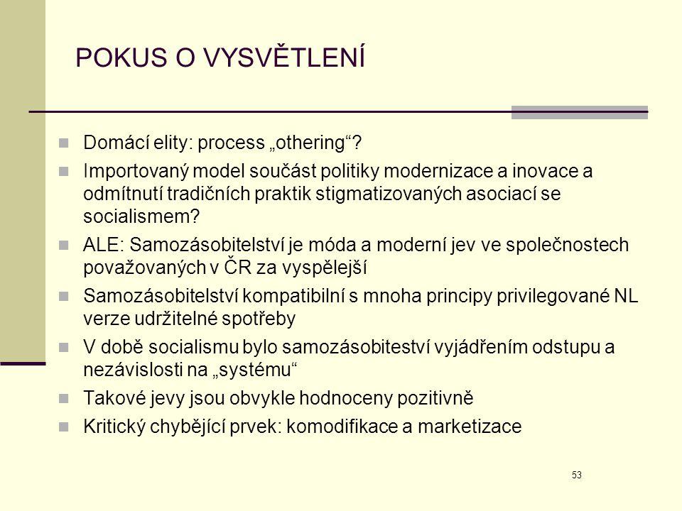 """53 POKUS O VYSVĚTLENÍ  Domácí elity: process """"othering""""?  Importovaný model součást politiky modernizace a inovace a odmítnutí tradičních praktik st"""