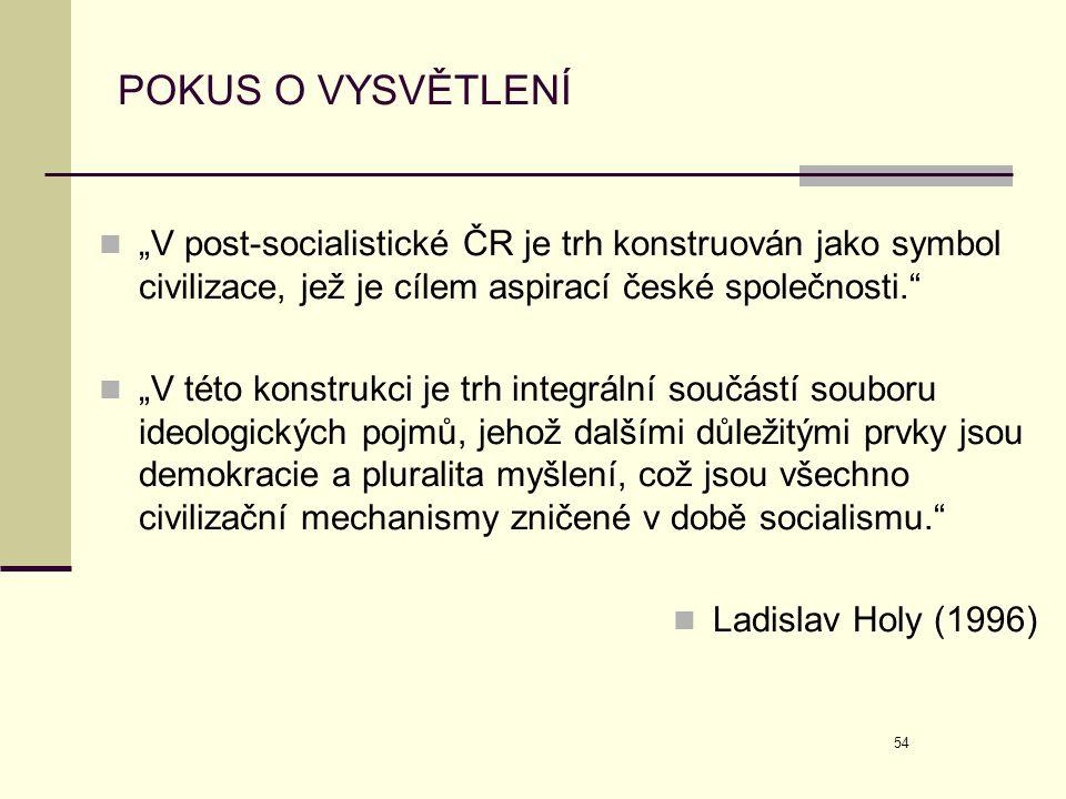 """54 POKUS O VYSVĚTLENÍ  """"V post-socialistické ČR je trh konstruován jako symbol civilizace, jež je cílem aspirací české společnosti.""""  """"V této konstr"""