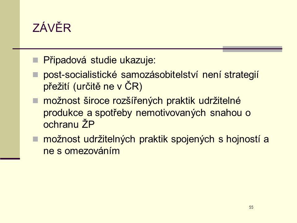 55 ZÁVĚR  Připadová studie ukazuje:  post-socialistické samozásobitelství není strategií přežití (určitě ne v ČR)  možnost široce rozšířených prakt