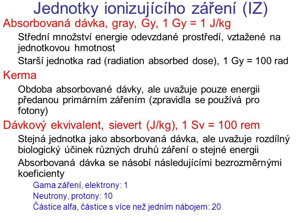 Jednotky ionizujícího záření (IZ) Absorbovaná dávka, gray, Gy, 1 Gy = 1 J/kg Střední množství energie odevzdané prostředí, vztažené na jednotkovou hmo