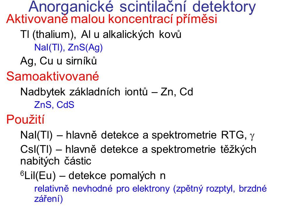 Anorganické scintilační detektory Aktivované malou koncentrací příměsi Tl (thalium), Al u alkalických kovů NaI(Tl), ZnS(Ag) Ag, Cu u sirníků Samoaktiv