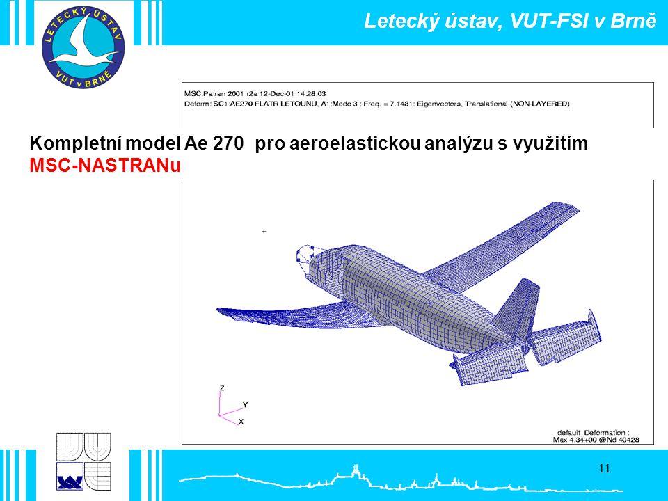 11 Kompletní model Ae 270 pro aeroelastickou analýzu s využitím MSC-NASTRANu