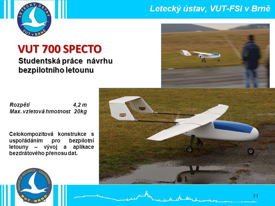 Studentská práce návrhu bezpilotního letounu VUT 700 SPECTO Celokompozitová konstrukce s uspořádáním pro bezpilotní letouny – vývoj a aplikace bezdrát
