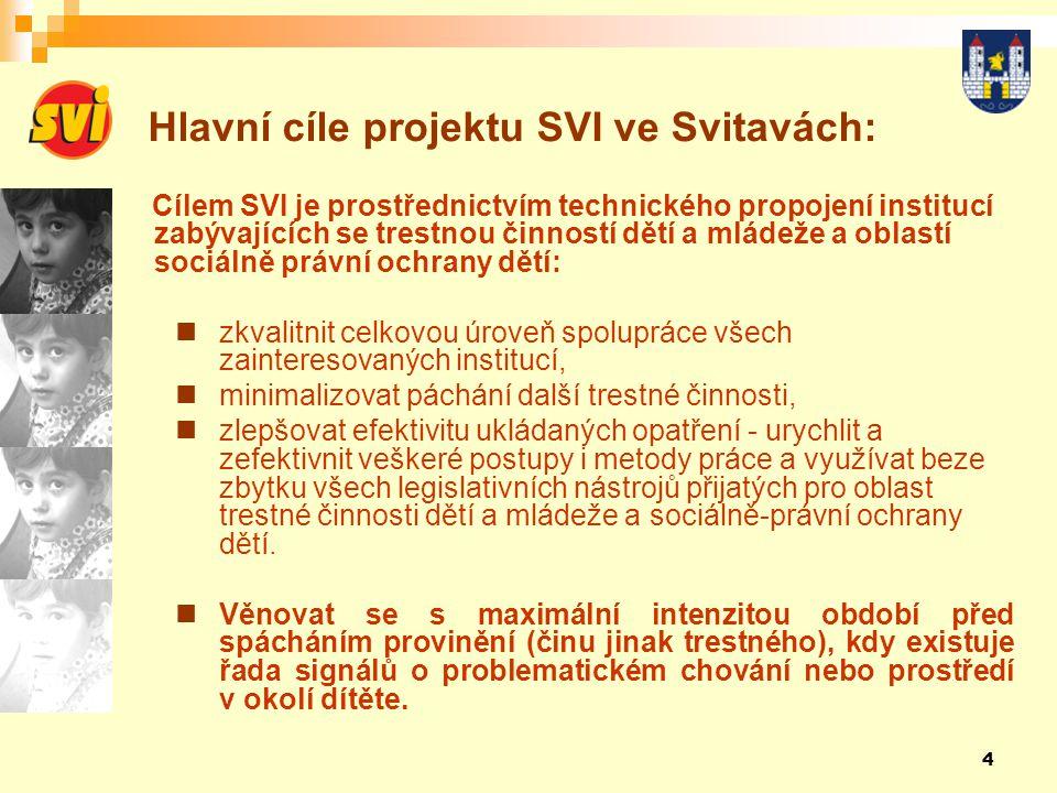 5 Hlavní záměry projektu SVI: Zajištění maximální možné informovanosti všech subjektů zabývajících se oblastí trestné činnosti dětí a mládeže v co nejkratším čase o:  nezletilých i mladistvých pachatelích trestné činnosti,  uložení a průběhu přijatých výchovných, ochranných či trestních opatření,  dětech, které jsou v péči orgánů sociálně-právní ochrany.