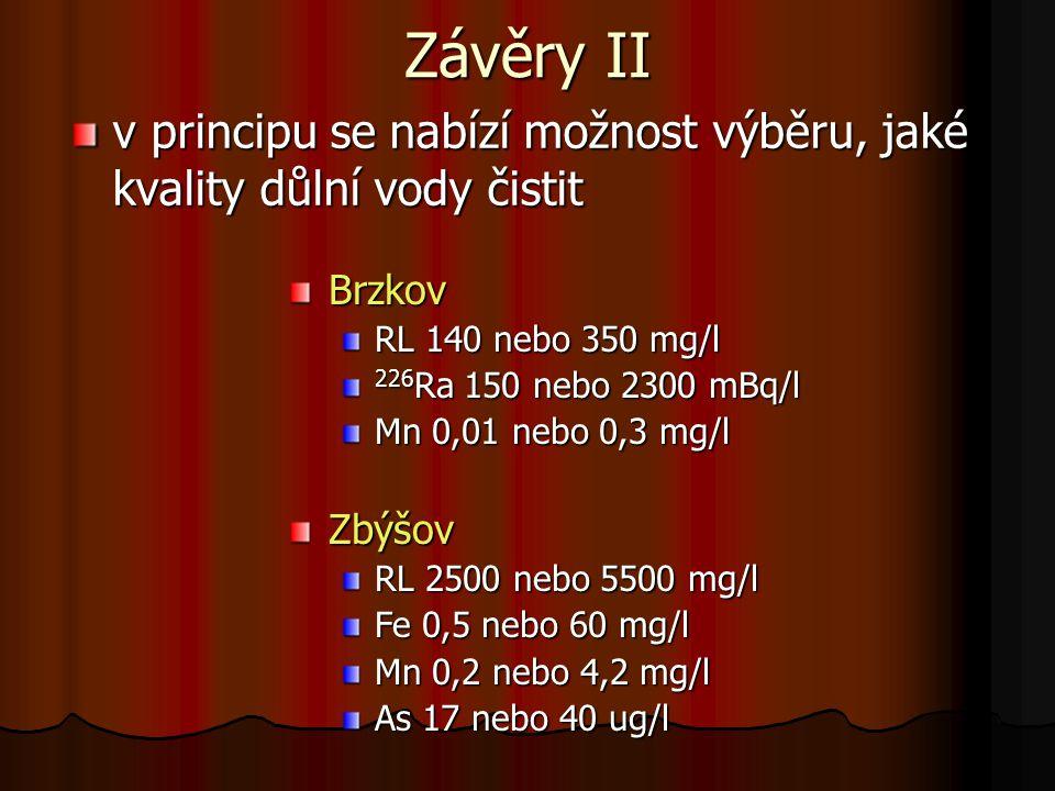 Závěry II v principu se nabízí možnost výběru, jaké kvality důlní vody čistit Brzkov RL 140 nebo 350 mg/l 226 Ra 150 nebo 2300 mBq/l Mn 0,01 nebo 0,3 mg/l Zbýšov RL 2500 nebo 5500 mg/l Fe 0,5 nebo 60 mg/l Mn 0,2 nebo 4,2 mg/l As 17 nebo 40 ug/l