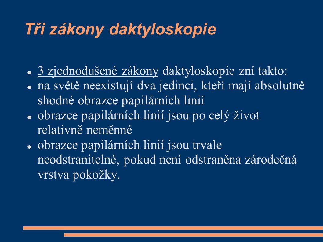 Tři zákony daktyloskopie  3 zjednodušené zákony daktyloskopie zní takto:  na světě neexistují dva jedinci, kteří mají absolutně shodné obrazce papil