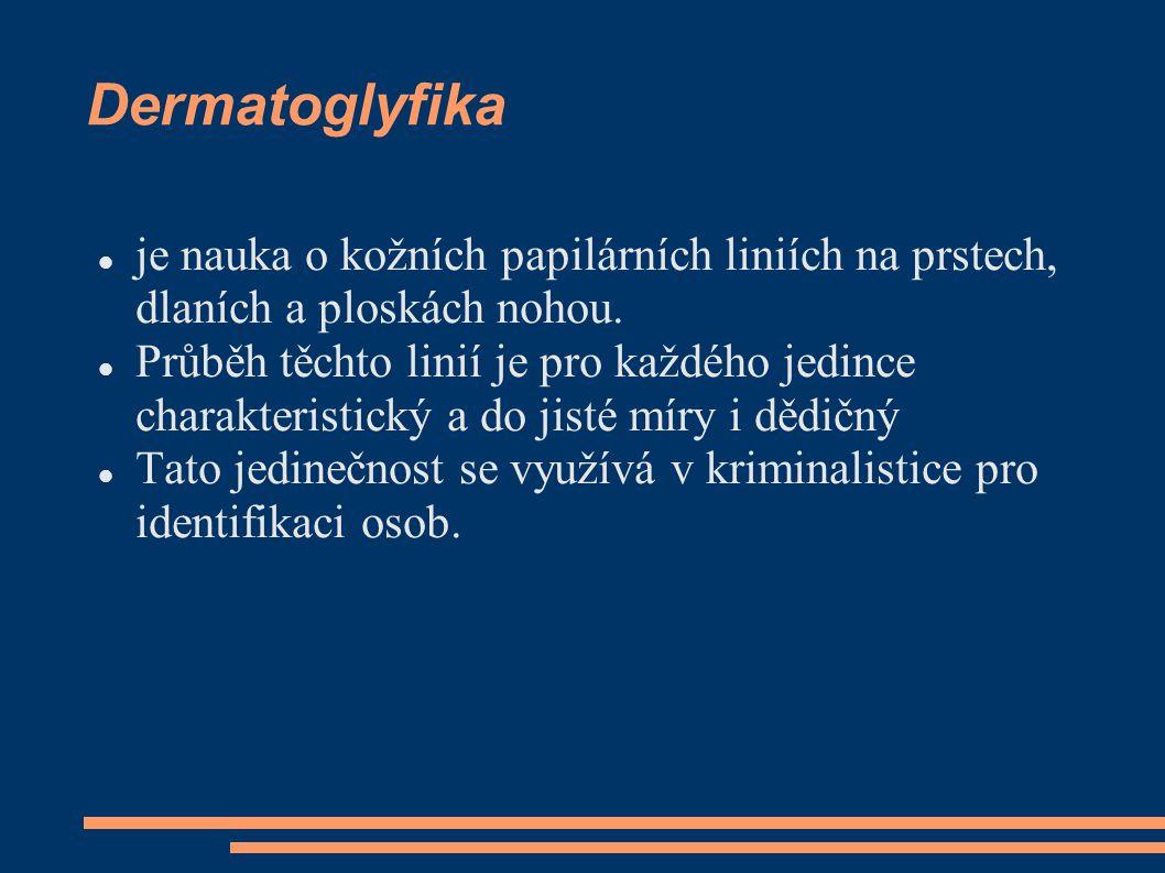 Dermatoglyfika  je nauka o kožních papilárních liniích na prstech, dlaních a ploskách nohou.  Průběh těchto linií je pro každého jedince charakteris