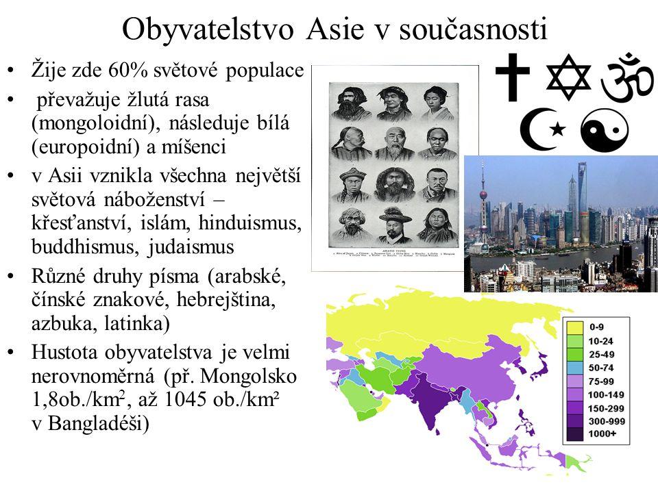 Obyvatelstvo Asie v současnosti •Žije zde 60% světové populace • převažuje žlutá rasa (mongoloidní), následuje bílá (europoidní) a míšenci •v Asii vzn