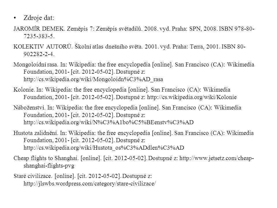 • Zdroje dat: JAROMÍR DEMEK. Zeměpis 7: Zeměpis světadílů. 2008. vyd. Praha: SPN, 2008. ISBN 978-80- 7235-383-5. KOLEKTIV AUTORŮ. Školní atlas dnešníh