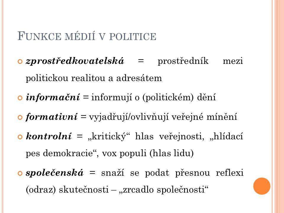 """F UNKCE MÉDIÍ V POLITICE zprostředkovatelská = prostředník mezi politickou realitou a adresátem informační = informují o (politickém) dění formativní = vyjadřují/ovlivňují veřejné mínění kontrolní = """"kritický hlas veřejnosti, """"hlídací pes demokracie , vox populi (hlas lidu) společenská = snaží se podat přesnou reflexi (odraz) skutečnosti – """"zrcadlo společnosti"""