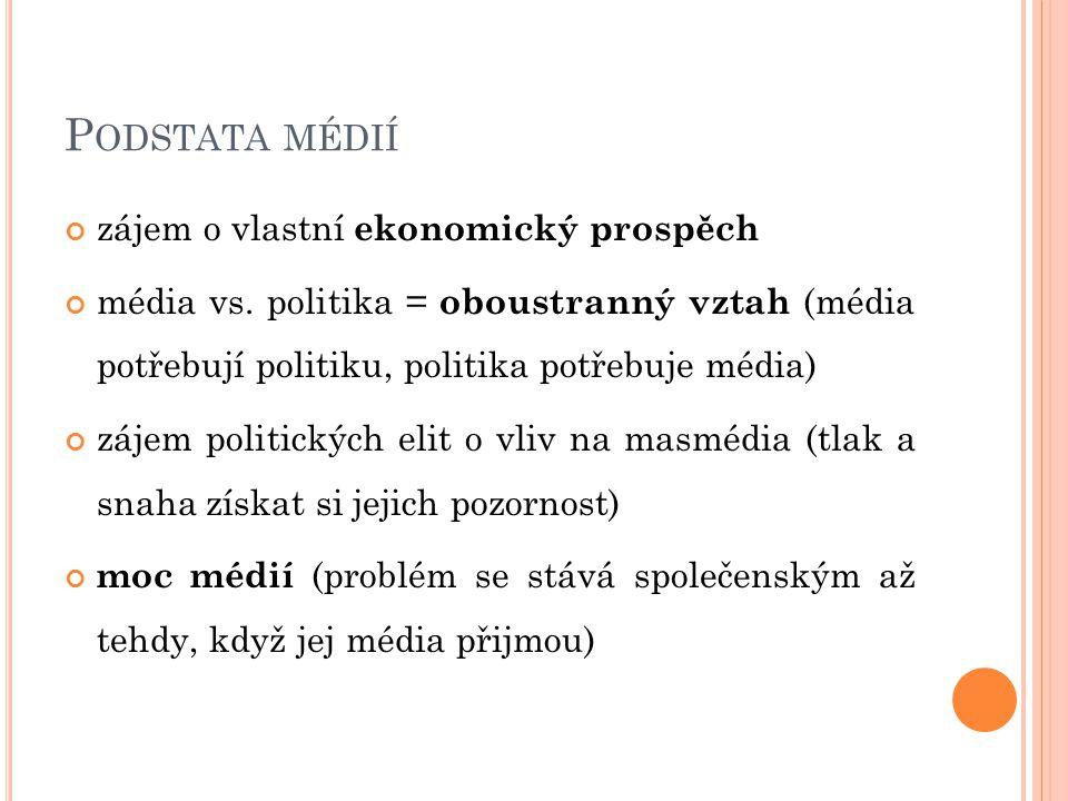 P ODSTATA MÉDIÍ zájem o vlastní ekonomický prospěch média vs. politika = oboustranný vztah (média potřebují politiku, politika potřebuje média) zájem