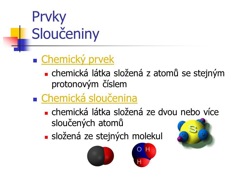 Prvky Sloučeniny  Chemický prvek  chemická látka složená z atomů se stejným protonovým číslem  Chemická sloučenina  chemická látka složená ze dvou nebo více sloučených atomů  složená ze stejných molekul