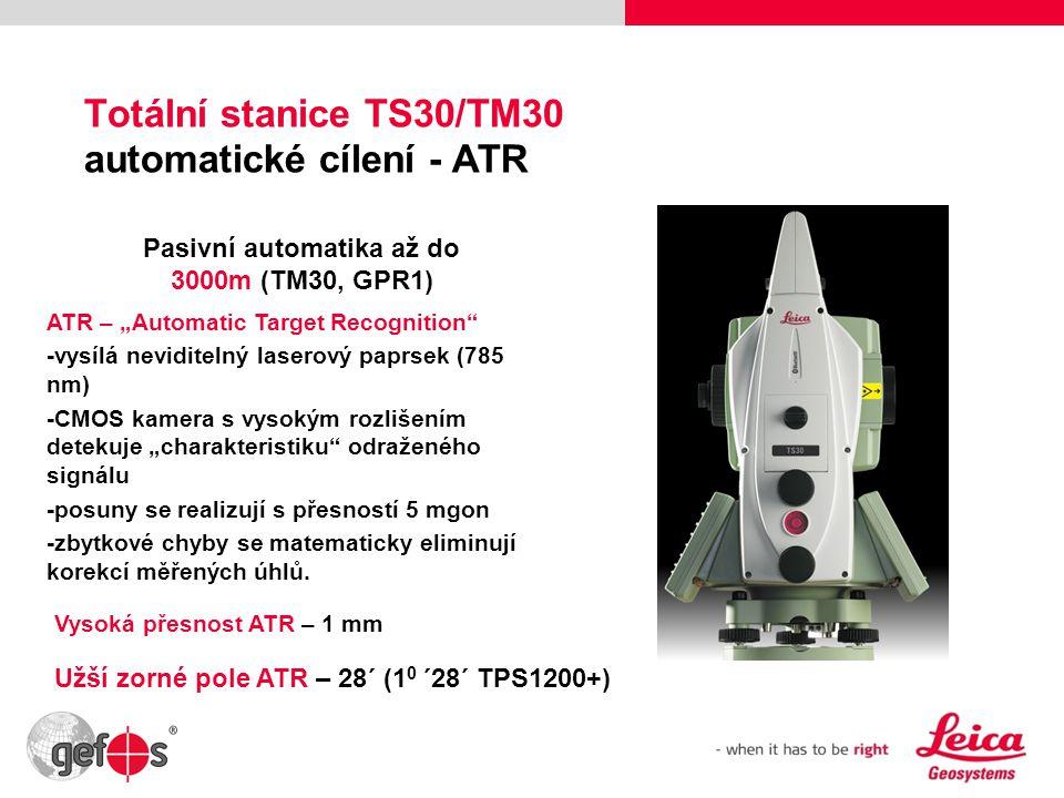 """10 Totální stanice TS30/TM30 automatické cílení - ATR Pasivní automatika až do 3000m (TM30, GPR1) ATR – """"Automatic Target Recognition"""" -vysílá nevidit"""