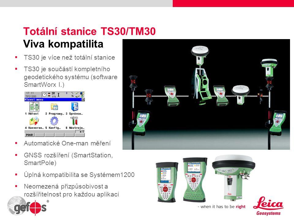 12 Totální stanice TS30/TM30 Viva kompatilita  TS30 je více než totální stanice  TS30 je součástí kompletního geodetického systému (software SmartWo