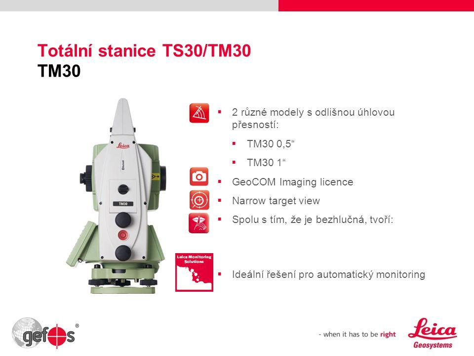 """15 Totální stanice TS30/TM30 TM30  2 různé modely s odlišnou úhlovou přesností:  TM30 0,5""""  TM30 1""""  GeoCOM Imaging licence  Narrow target view """