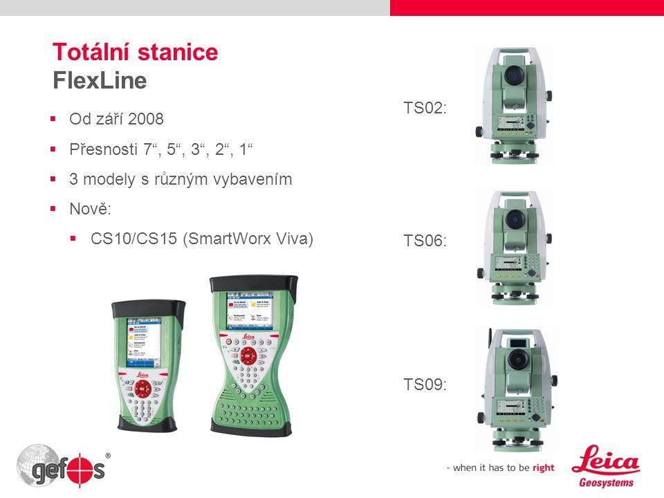 """19 Totální stanice FlexLine  Od září 2008  Přesnosti 7"""", 5"""", 3"""", 2"""", 1""""  3 modely s různým vybavením  Nově:  CS10/CS15 (SmartWorx Viva) TS02: TS0"""