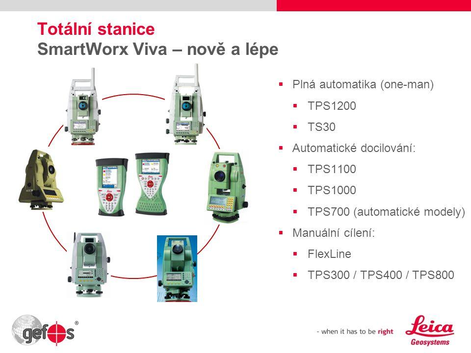 20 Totální stanice SmartWorx Viva – nově a lépe  Plná automatika (one-man)  TPS1200  TS30  Automatické docilování:  TPS1100  TPS1000  TPS700 (a