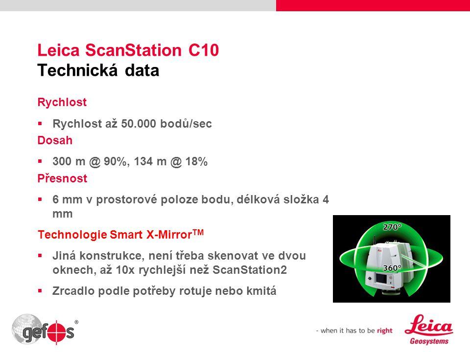 27 Leica ScanStation C10 Technická data Rychlost  Rychlost až 50.000 bodů/sec Dosah  300 m @ 90%, 134 m @ 18% Přesnost  6 mm v prostorové poloze bo