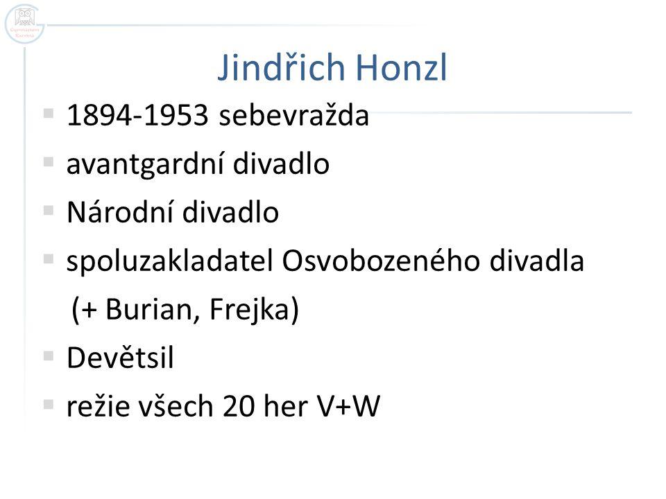 Jindřich Honzl  1894-1953 sebevražda  avantgardní divadlo  Národní divadlo  spoluzakladatel Osvobozeného divadla (+ Burian, Frejka)  Devětsil  režie všech 20 her V+W