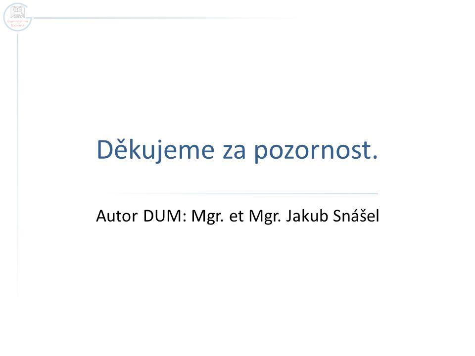 Děkujeme za pozornost. Autor DUM: Mgr. et Mgr. Jakub Snášel