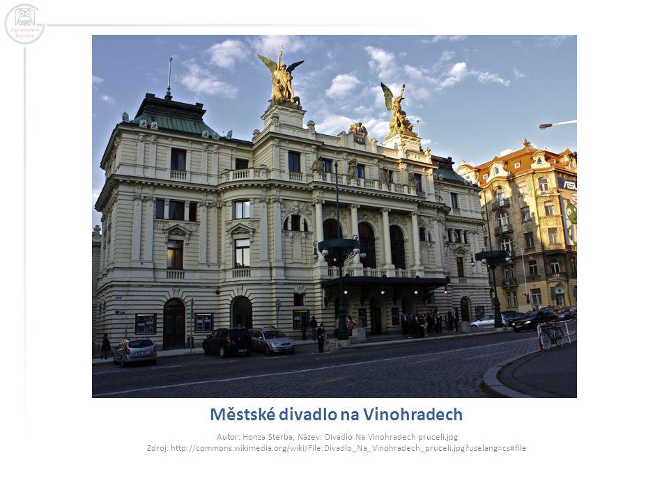 Městské divadlo na Vinohradech Autor: Honza Sterba, Název: Divadlo Na Vinohradech pruceli.jpg Zdroj: http://commons.wikimedia.org/wiki/File:Divadlo_Na_Vinohradech_pruceli.jpg?uselang=cs#file