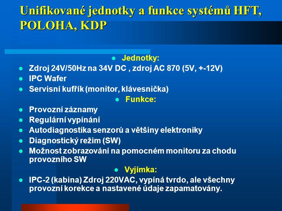Unifikované jednotky a funkce systémů HFT, POLOHA, KDP  Jednotky:  Zdroj 24V/50Hz na 34V DC, zdroj AC 870 (5V, +-12V)  IPC Wafer  Servisní kufřík