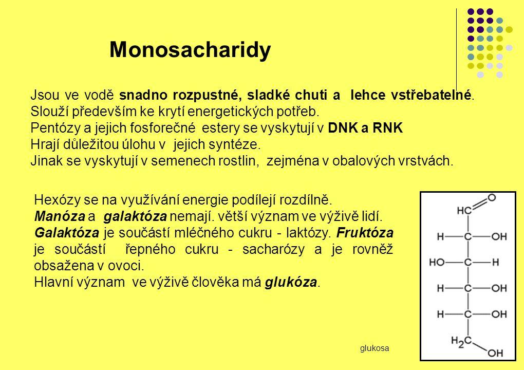 Monosacharidy Jsou ve vodě snadno rozpustné, sladké chuti a lehce vstřebatelné. Slouží především ke krytí energetických potřeb. Pentózy a jejich fosfo