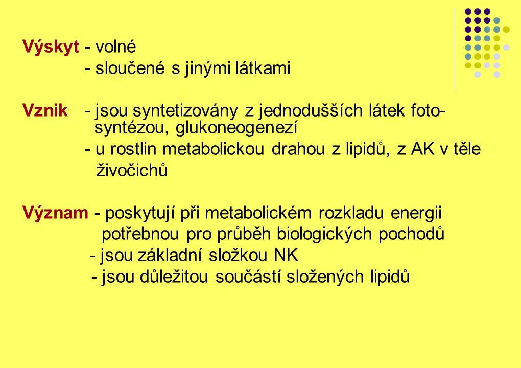 Výskyt - volné - sloučené s jinými látkami Vznik - jsou syntetizovány z jednodušších látek foto- syntézou, glukoneogenezí - u rostlin metabolickou dra