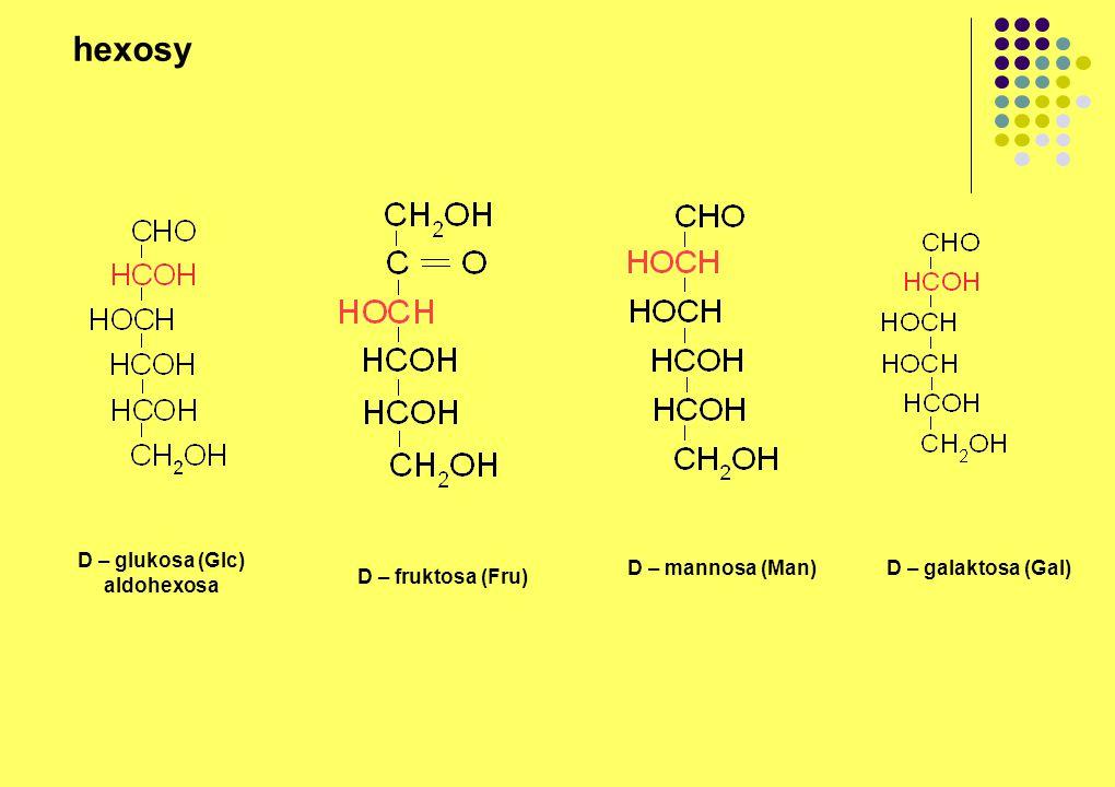hexosy D – glukosa (Glc) aldohexosa D – fruktosa (Fru) D – mannosa (Man)D – galaktosa (Gal)