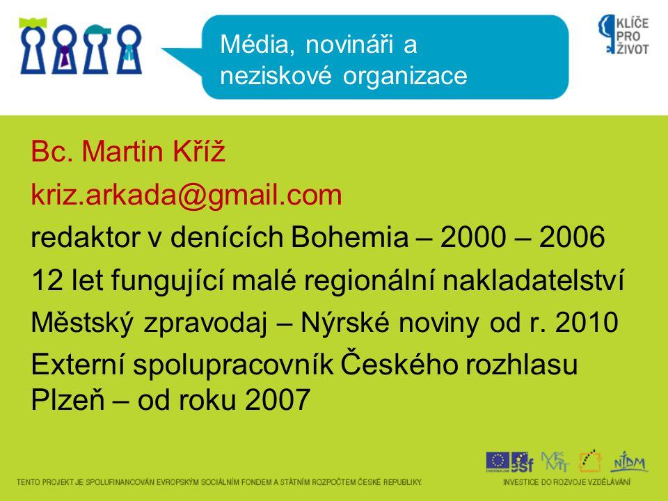 Bc. Martin Kříž kriz.arkada@gmail.com redaktor v denících Bohemia – 2000 – 2006 12 let fungující malé regionální nakladatelství Městský zpravodaj – Ný