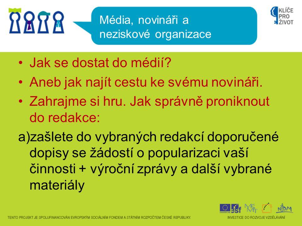 b) Do redakcí budete telefonovat a shánět novináře, o kterém se domníváte, že Vám pomůže.