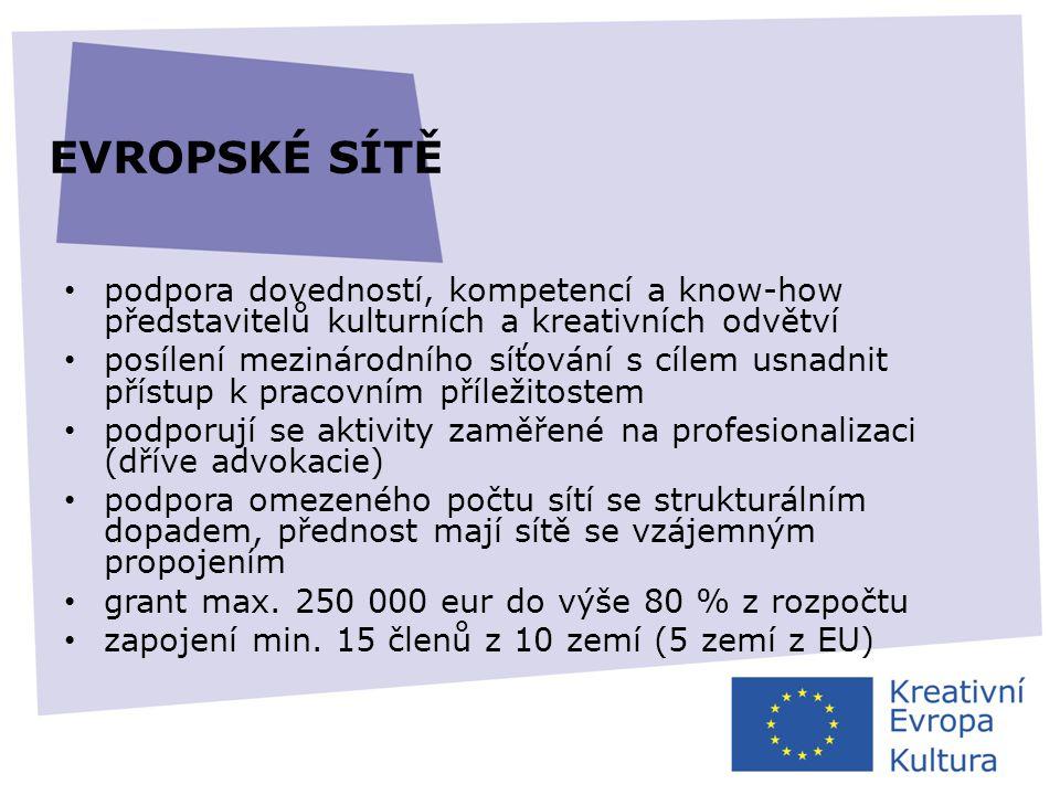 EVROPSKÉ SÍTĚ • podpora dovedností, kompetencí a know-how představitelů kulturních a kreativních odvětví • posílení mezinárodního síťování s cílem usn