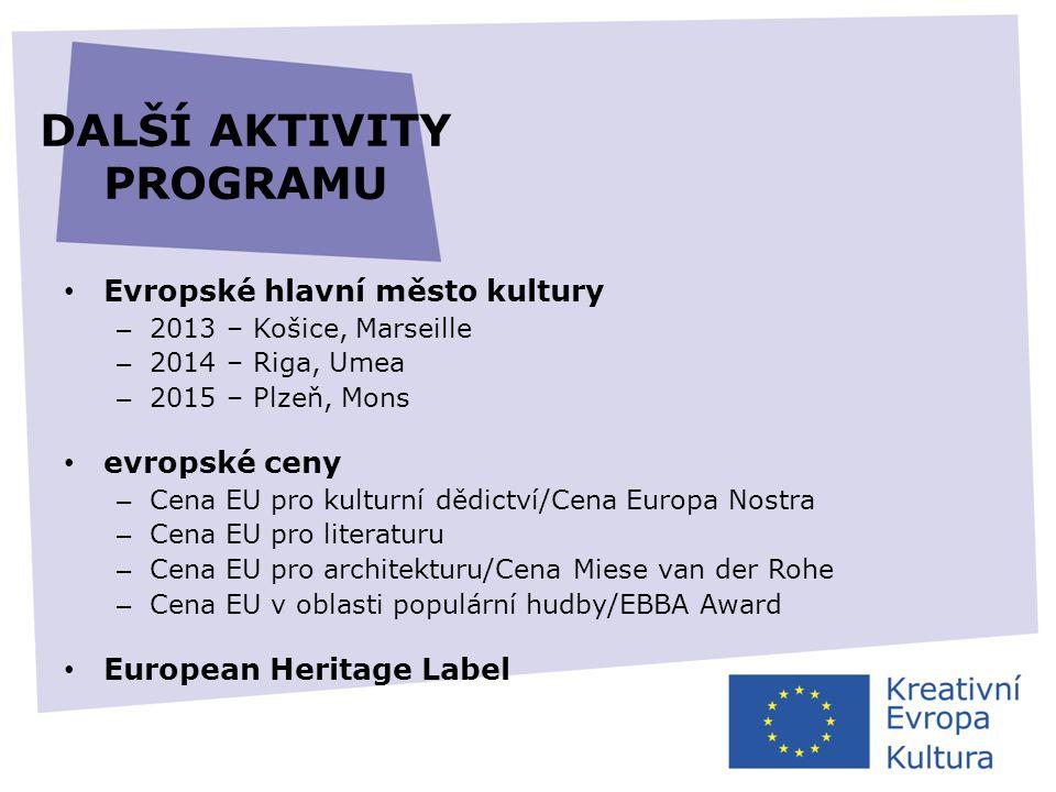 DALŠÍ AKTIVITY PROGRAMU • Evropské hlavní město kultury – 2013 – Košice, Marseille – 2014 – Riga, Umea – 2015 – Plzeň, Mons • evropské ceny – Cena EU
