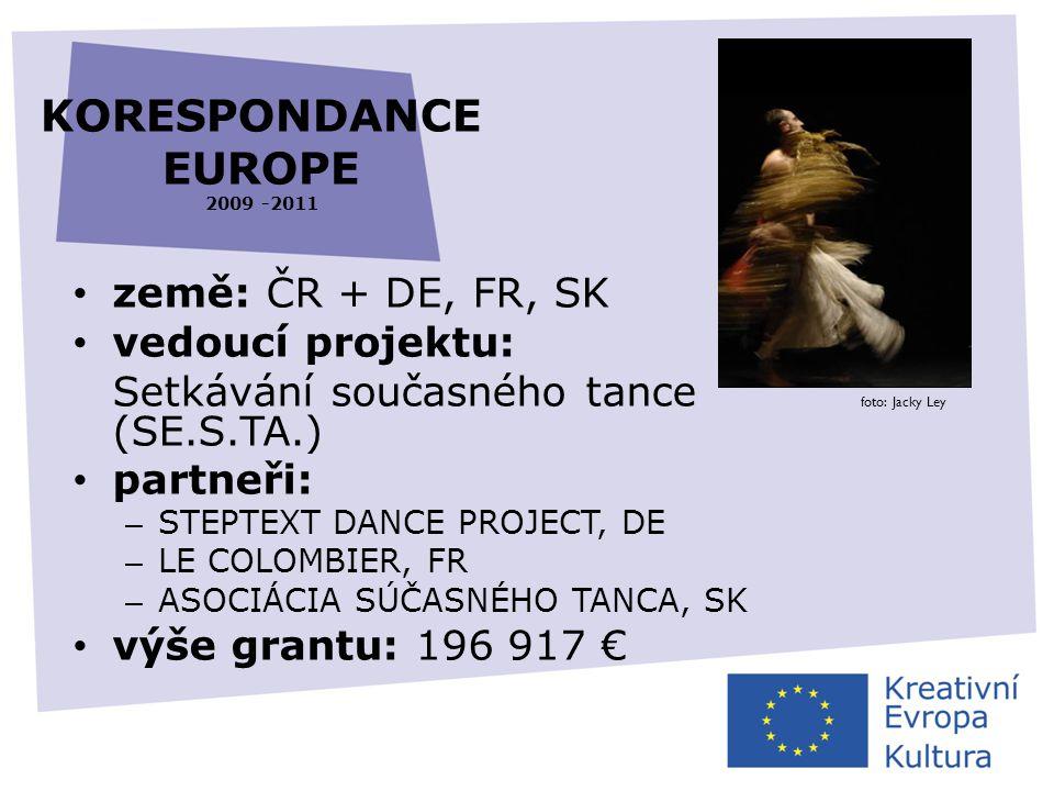 KORESPONDANCE EUROPE 2009 -2011 • země: ČR + DE, FR, SK • vedoucí projektu: Setkávání současného tance (SE.S.TA.) • partneři: – STEPTEXT DANCE PROJECT