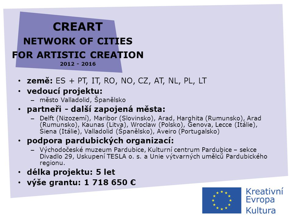 CREART NETWORK OF CITIES FOR ARTISTIC CREATION 2012 - 2016 • země: ES + PT, IT, RO, NO, CZ, AT, NL, PL, LT • vedoucí projektu: – město Valladolid, Špa