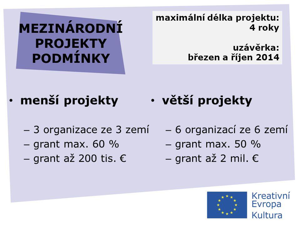 MEZINÁRODNÍ PROJEKTY PODMÍNKY • menší projekty – 3 organizace ze 3 zemí – grant max. 60 % – grant až 200 tis. € • větší projekty – 6 organizací ze 6 z