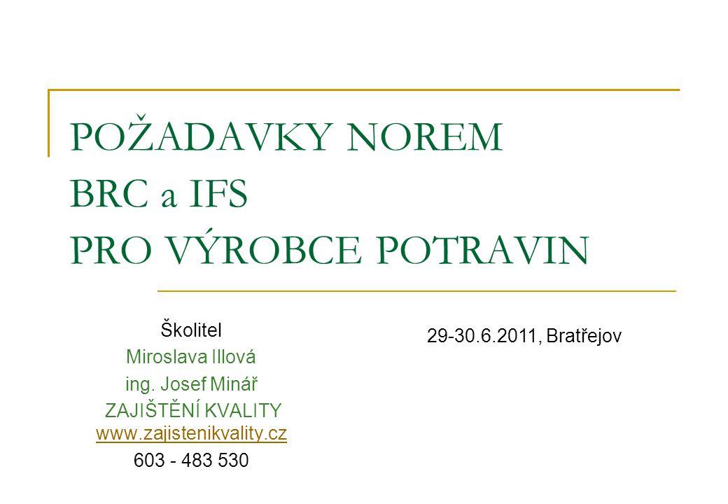 POŽADAVKY NOREM BRC a IFS PRO VÝROBCE POTRAVIN Školitel Miroslava Illová ing.